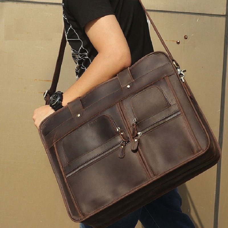 17 Laptop Bag Men Briefcase Travel Bags Crazy Horse Leather Business Man Casual Vintage Real Leather Briefcases Tote Handbags anaph vintage crazy horse men s leather durable briefcases 15 laptop bag brown cowhide business tote bags 30 year warranty