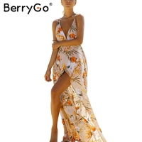 BerryGo Backless Boho Flower Print Long Dress 2017 Beach Chiffon Maxi Dress Women Sexy Deep V