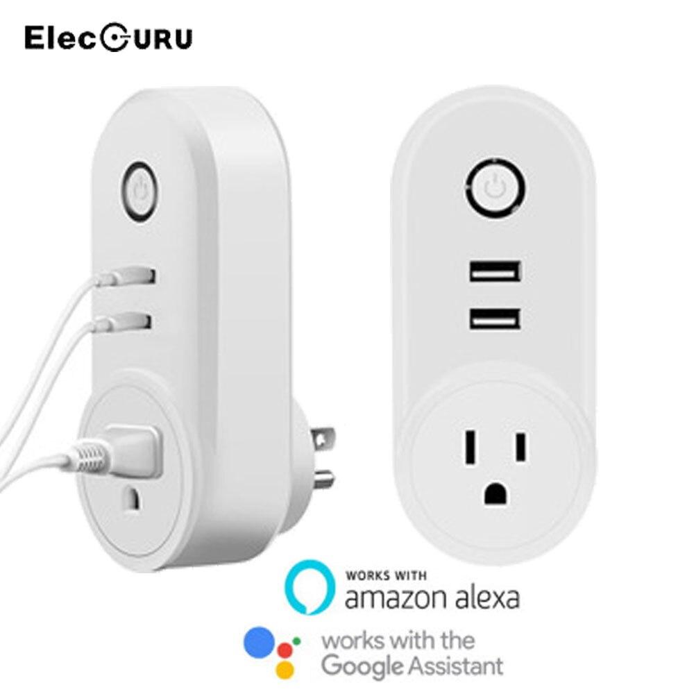 2 Usb Ports Wifi Socket Smart Plug For Amazon Alexa/google Home Smart Phone Remote Control Outlet Timing Switch Eu/us/uk Plug