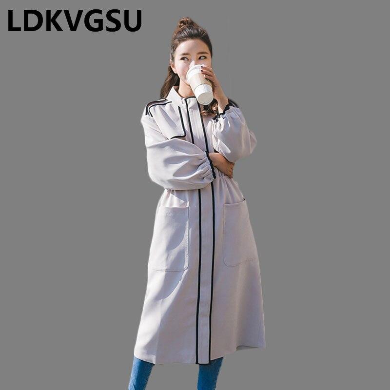Femmes coréen Occasionnel Is196 Cordon Manteau Fermeture Coupe Color Femme Tranchée Taille Éclair Lâche Automne Nouvelle 2018 Printemps vent Photo Longue Grande v4qInAz4