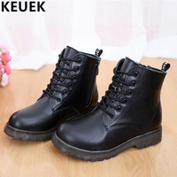 British style Genuine Leather Martin Boots Autumn Winter Boys Girls shoes Kids Motorcycle boots Lace-Up Ankle Snow Boots 01B