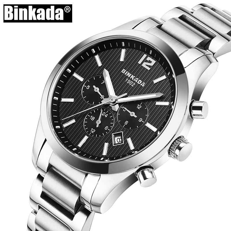 BINKADA Brand Men's Watch Automatic Mechanical Watches Full Steel Waterproof Male Casual Business Wrist Watch New Clock each g1100 shake e sports gaming mic led light headset headphone casque with 7 1 heavy bass surround sound for pc gamer