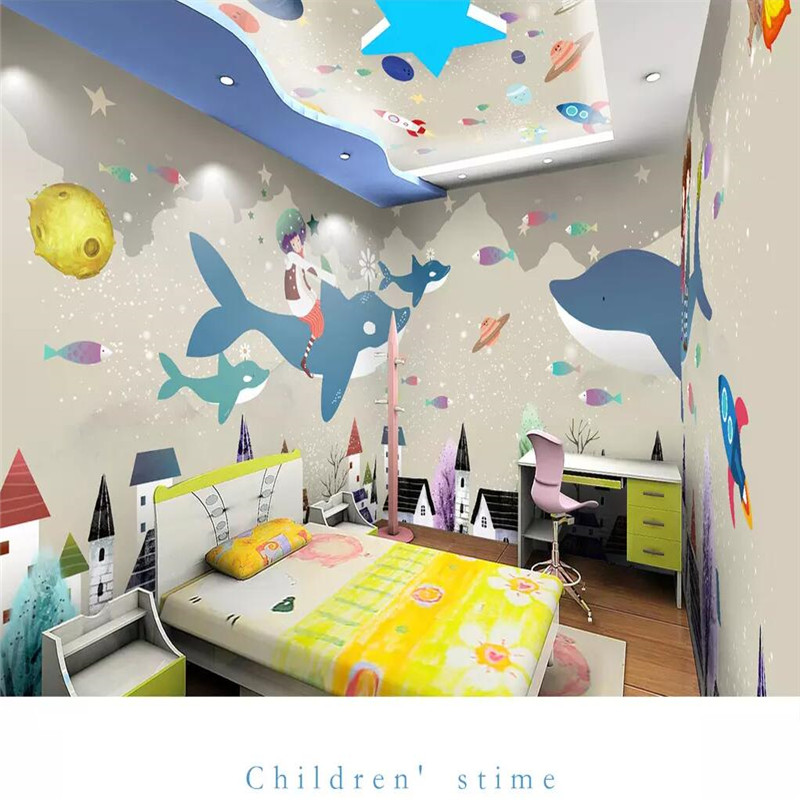 Cartoon theme space full house background wall professional production mural factory wholesale wallpaper mural poster photo wall in Fabric Textile Wallcoverings from Home Improvement