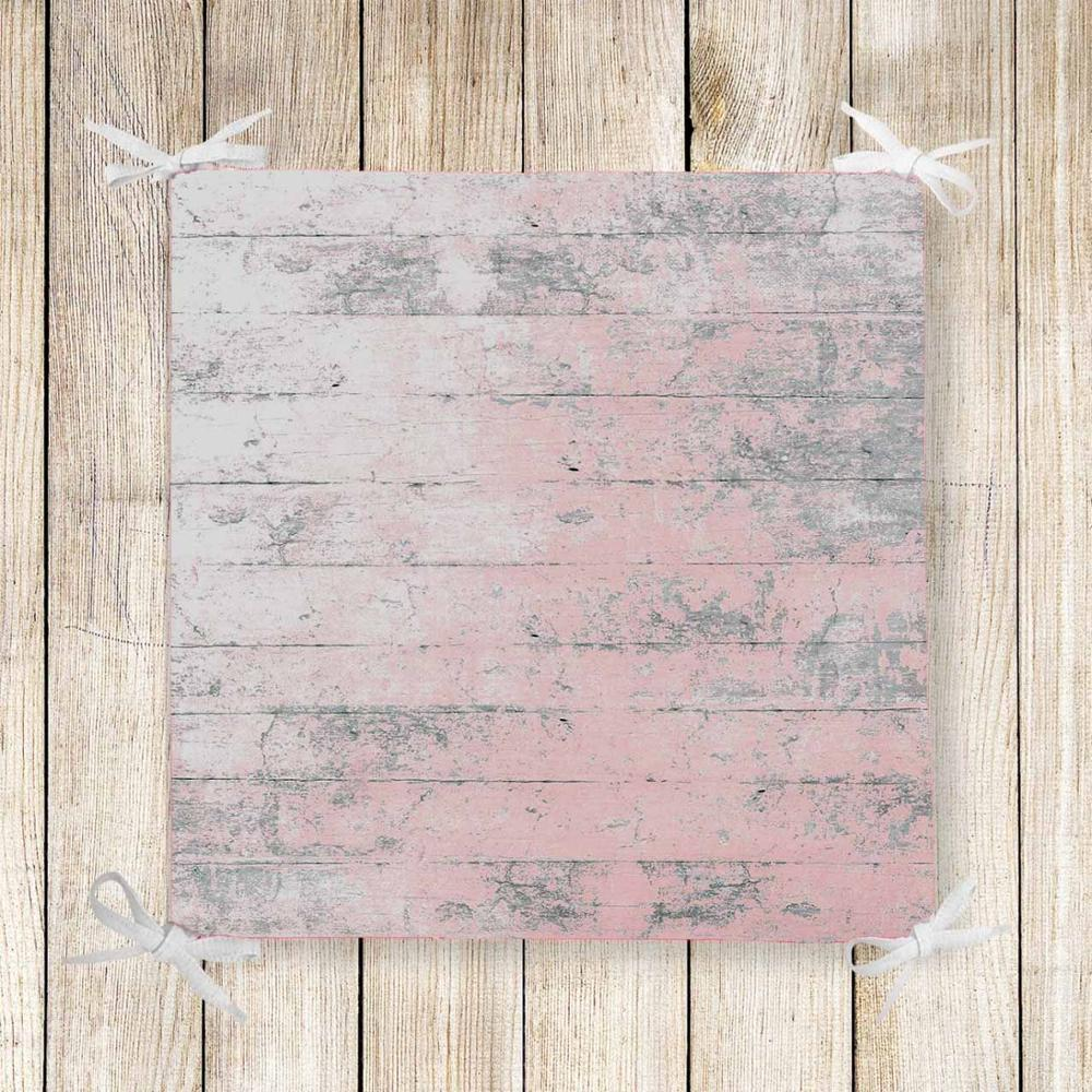 Else Pink Gray Vintage Wood 3d Print Chair Pad Seat Cushion Soft Memory Foam Full Lenght Ties Non Slip Washable Zipper