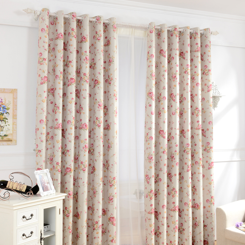 Urijk 1pc Pink Floral Sheer Curtains For Girls Jacquard Style Flower