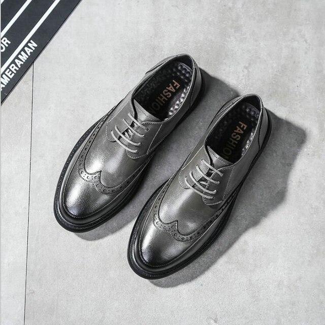 Новая мода Для мужчин Бизнес торжественное платье повседневные туфли на плоской подошве Мужская Свадебная обувь кожаные туфли-оксфорды с круглым носком LE-32