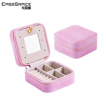 Casegrace exquisite portable square jewelry boxes rhinestone earring storage box cases fine women rings storage organizer 01109 makeup organizer box