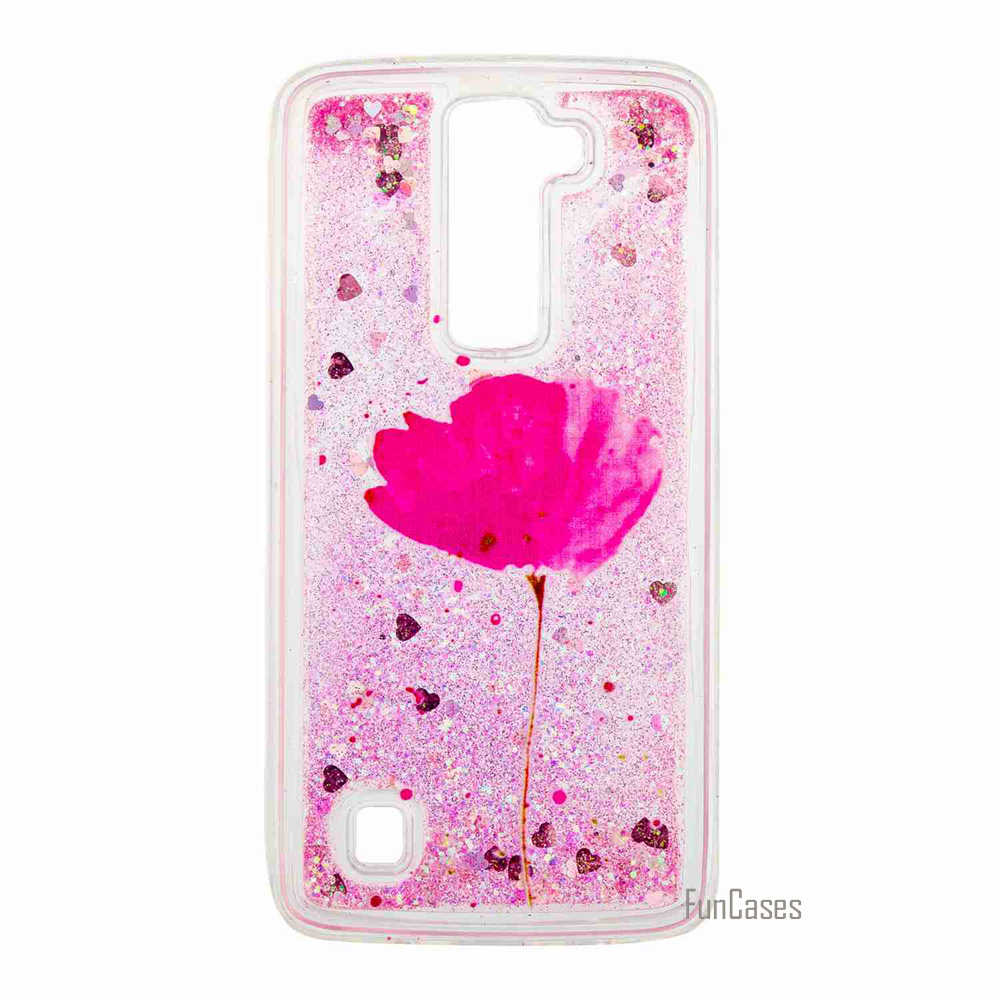 Funda Skeleton Quicksand Back Cover For LG K7 K8 Phone Case For LG LS775 Soft TPU Liquid Bling Phone Back Case Accessories Coque