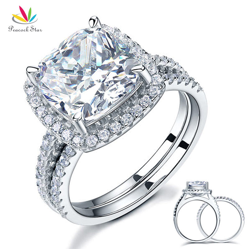 Peacock Star 5 Ct Cushion Cut Wedding Engagement Ring Set Solid 925 Sterling Silver Jewelry CFR8205 peacock star solid sterling 925 silver bridal wedding promise engagement ring set 2 ct pear jewelry cfr8224