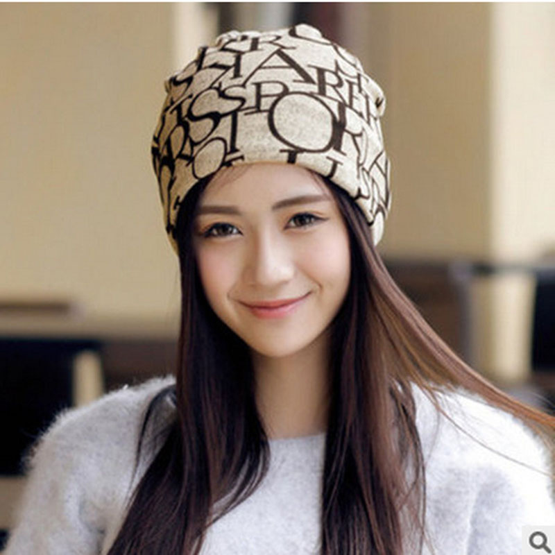 Women's Winter Hat Knitted Wool Beanie Female Fashion Letter Flag Printing Skullies Casual Outdoor Mask Ski Caps Thick Warm Hats