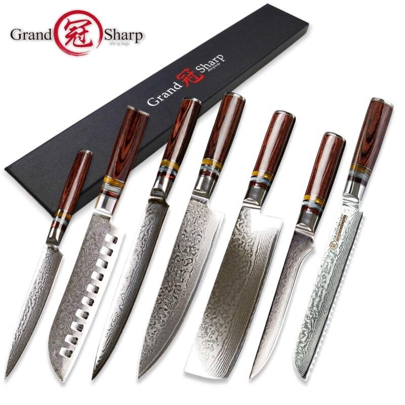 Grandsharp 7 pcs kitchen knife set vg10 Japanese Damascus steel chef santoku utility nakiri boning slicing