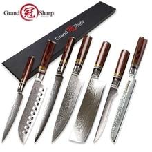 Grandsharp 7 шт Кухонный Нож, Набор vg10 японский Дамасская сталь шеф-повар santoku утилита nakiri косточки нарезки ножи для хлеба инструменты