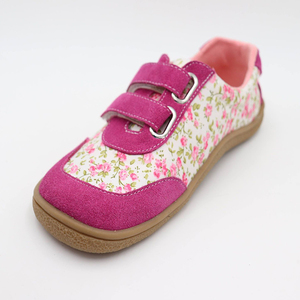 Image 2 - Kids 2020 Toddler Baby Genuine Leather + Fabric Shoe Girls Flower Sneaker Kid Child Causal Trainer Sequin Flat Barefoot