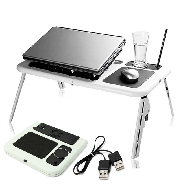Adjustable Folding Laptop Table E Table With Tray Cooling Fans Stand Home Portable Laptop Desk Bed Sofa Stand New Lapdesk