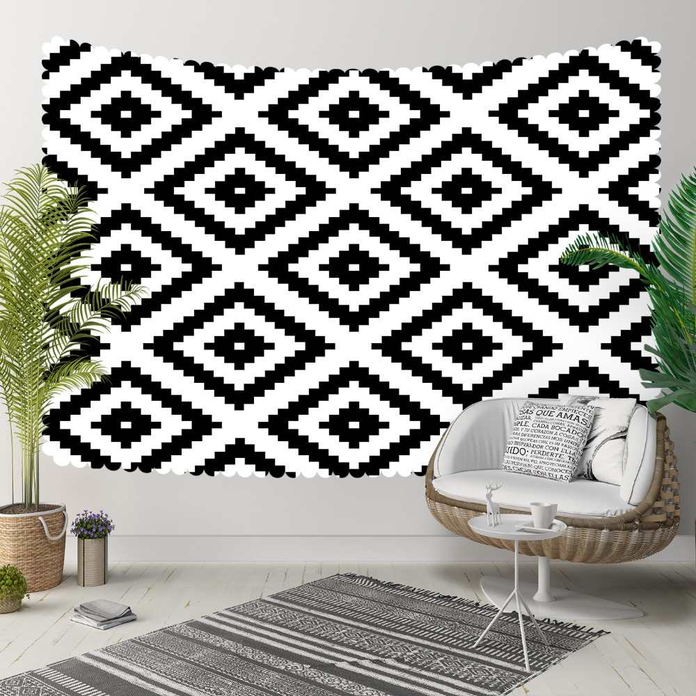 Else Black White Tiles Nordec Ikat Damask Design 3D Print Decorative Hippi Bohemian Wall Hanging Landscape Tapestry Wall Art