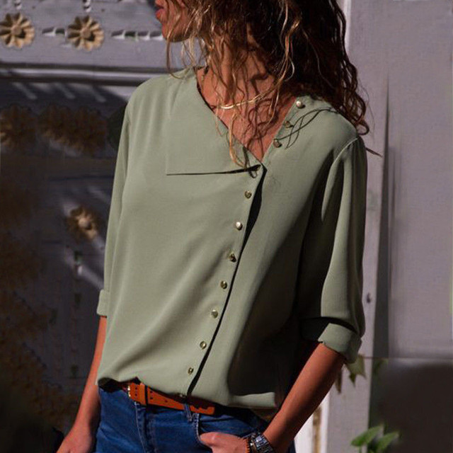 Chiffon Blouse 2019 Fashion Long Sleeve Women Blouses and Tops Skew Collar Solid Office Shirt Casual Tops Blusas Chemise Femme 4