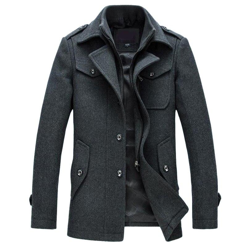 Новые зимнее шерстяное пальто Slim Fit Куртки модная верхняя одежда; теплый человек повседневная куртка пальто бушлат плюс Размеры M-XXXL