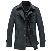 2015 New Winter Wool Coat Slim Fit Jackets Fashion Outerwear Warm Man Casual Jacket Overcoat Pea