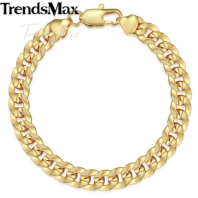 Womens Men's Bracelets 585 Rose Gold Curb Cuban Link Chain Bracelet For Woman Male Jewelry Gifts Dropshipping 9mm KGBM95