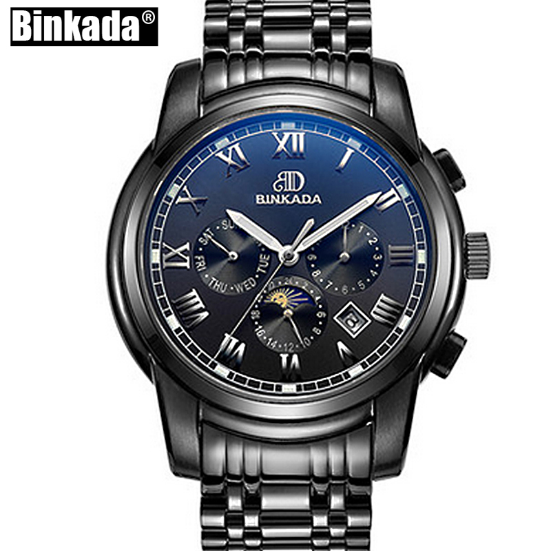 BINKADA Sport Watches Mens Watches Black Automatic Mechanical New Moon Phase Casual Business Wristwatch Top relojes