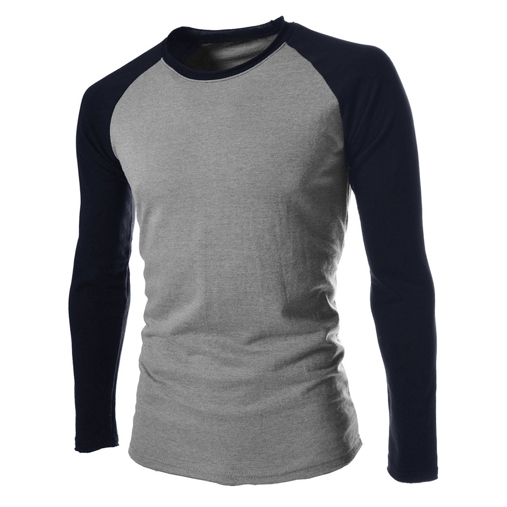 Men's O-Neck Long sleeves T Shirt Casual Contrast Color Patchwork Cotton Tops Tee Autumn Fashion Men's Clothing