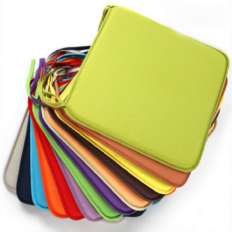 Hot Soft Seat Pad Patio Solid Color Garden Square Indoor Dining Tie On Office Chair Foam New Cushion