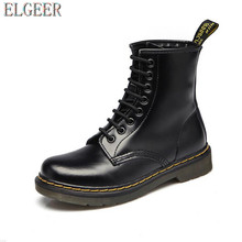 ELGEER Leather Boots Women Vintage Retro Warmer Hiking Shoes Flat-Bottomed Casual Ankle Shoe