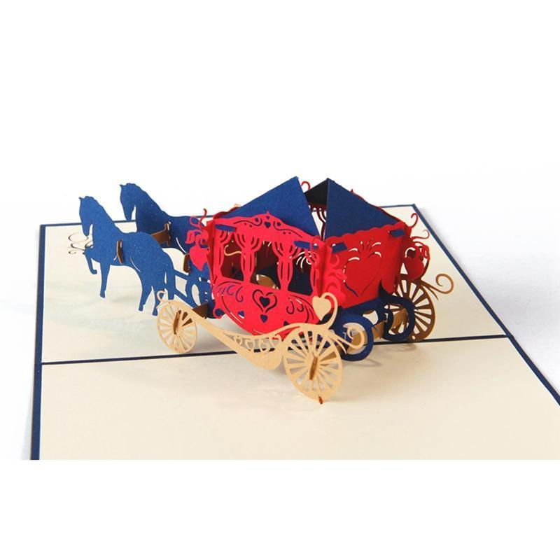 Carriage 3D Pop Up Holiday Greeting Card Cat Box Animal