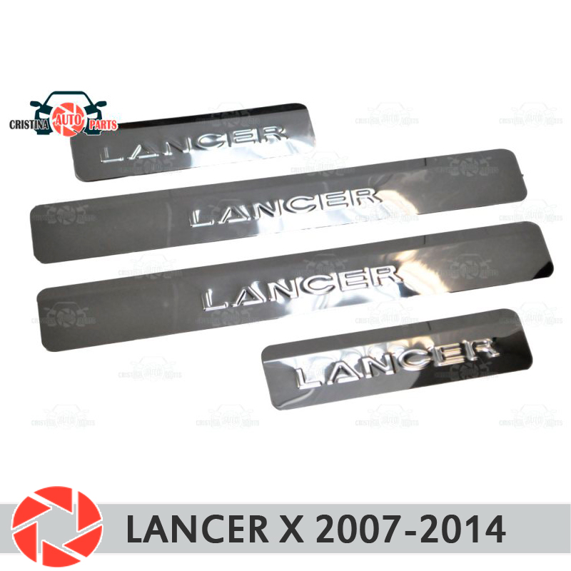 Door sills for Mitsubishi Lancer X 2007-2014 step plate inner trim accessories protection scuff car styling decoration stephen sills decoration