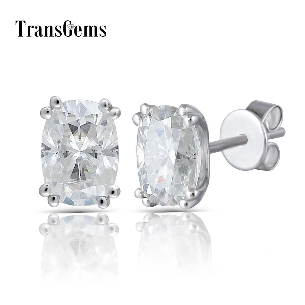 Transgems Solid 14K 585 White Gold 2CTW 5X7mm GH Near Colorless Cushion Cut Moissanite Stud Earring