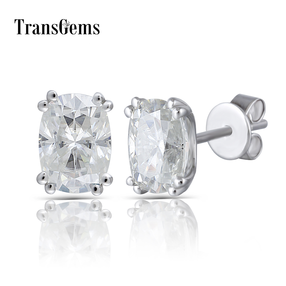 Transgems Solid 14K 585 White Gold 2CTW 5X7mm GH Near Colorless Cushion Cut Moissanite Stud Earring Push Back for Women Jewlry-in Earrings from Jewelry & Accessories    1