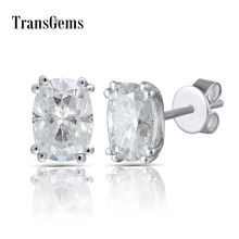 Transgems Solid 14K 585 White Gold 2CTW 5X7mm GH Near Colorless Cushion Cut Moissanite Stud Earring Push Back for Women Jewlry