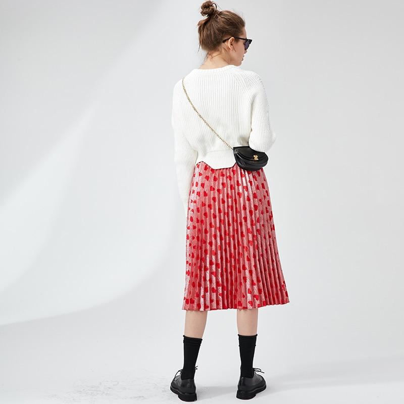 A Stile Gonne Dell'inghilterra Stampato Qualità Cuore line Pista Pieghe Donne Di A Alta Modo Celebrity Rosso Saia 2018 OXPkZiu