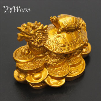 KiWarm Classic Gold Resin Feng Shui Dragon Turtle Tortoise Statue Figurine Coin Money Wealth Ornaments For Home Office