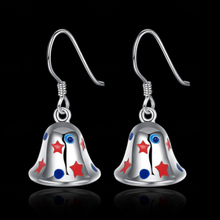 Silver Color Star Christmas Bell Drop Earring For Women Jewelry Colorful Party New Year