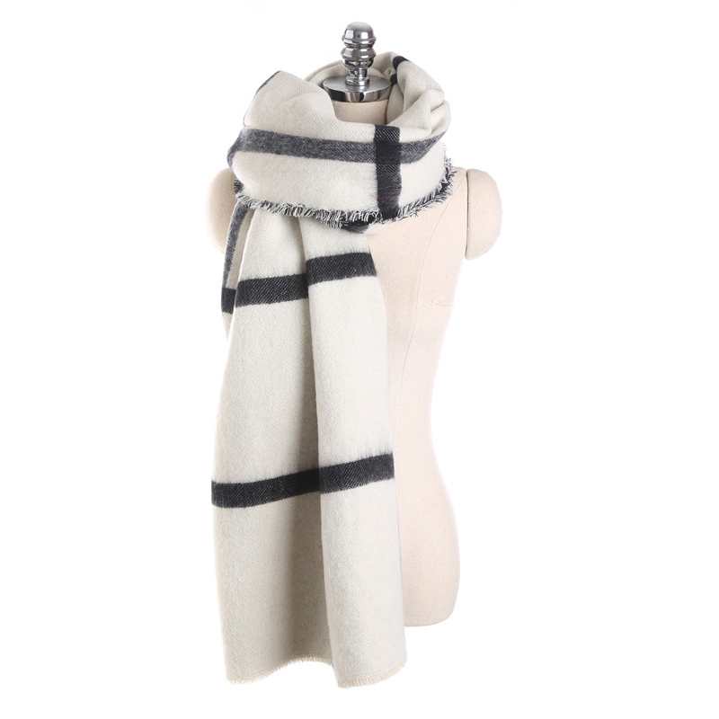 135646701b8 US $13.91 39% OFF|FS Black White Plaid Long Wool Cashmere Scarves Thicken  Winter Women Echarpe Blanket Scarf Oversize Wrap Ponchos Shawls Fashion-in  ...