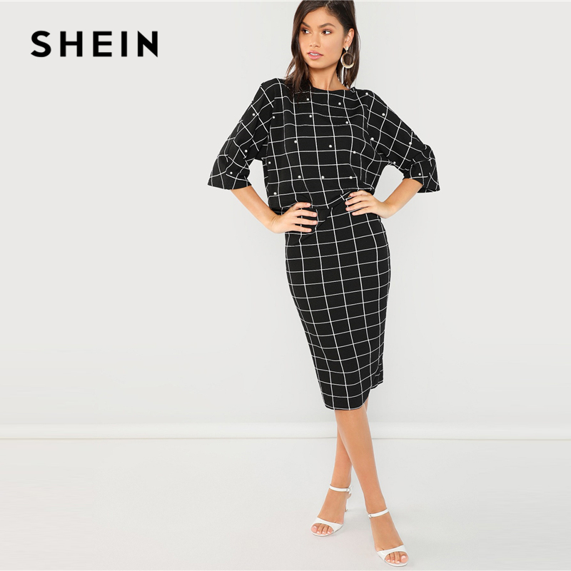 025f5ef6e4 SHEIN Black Pearl Embellished Front Top & Pencil Skirt Set Three Quarter  Length Sleeve Elegant 2018 Spring Plain Twopiece-in Women's Sets from  Women's ...