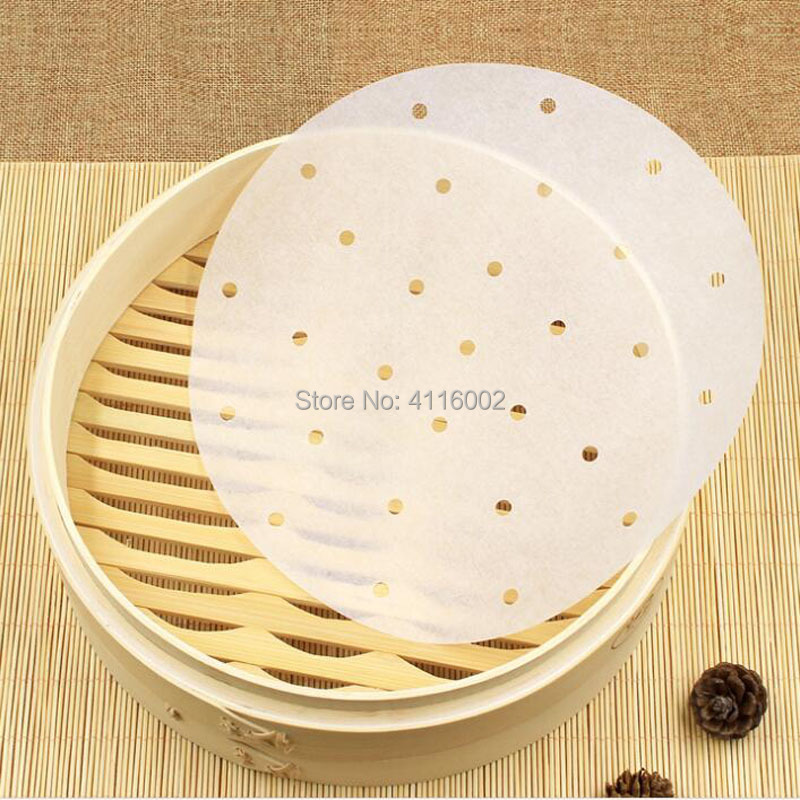 6inch 8inch 10inch Bamboo Steamer Dim Sum Paper Non Stick Under Steam Mat Cooking Papers For Food Steamer