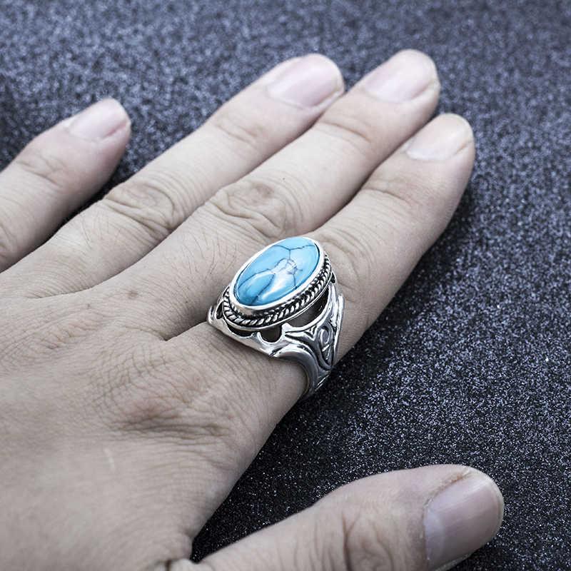 Vintage โบราณหินธรรมชาติแหวนแฟชั่นเครื่องประดับ Blue turquoises แหวนผู้หญิงงานแต่งงานครบรอบแหวน
