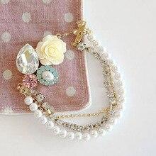 Hot Sale Women Flower Crystal Rhinestone Charm Multi Layer Simulated Pearl Bracelets Wedding Bride Charm Bracelet