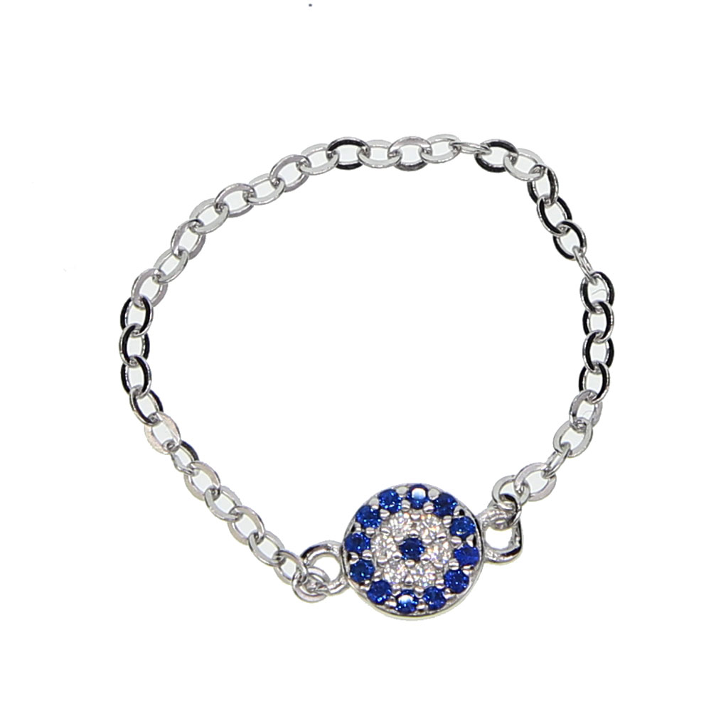 fine silver jewelry 2018 new arrival bling AAA cubic zirconia blue evil eye 925 silver ring chain