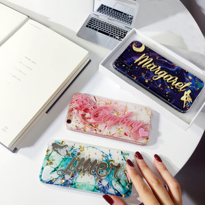 Image 3 - for samsung galaxy s7 s8 s9 s10 note 8 9 10 Luxury Unique Custom name letter bling glitter soft marble flake phone case cover