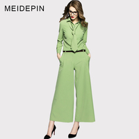 Autumn Spring Designing Business Women OL Twin Set Blouse Wide Leg Pants Plus Size 4XL Runway