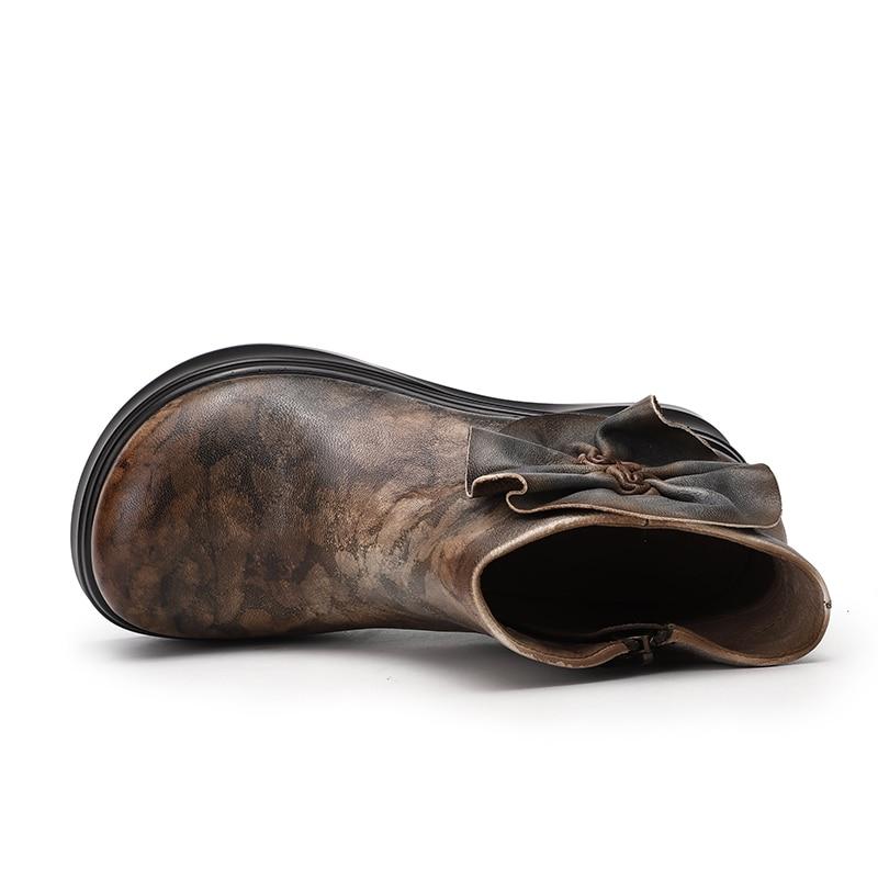 Cuir Lady Bottines Plate Femme Vintage Multi Wedge Haute Mélangée Couleur Champignon forme Naturel Femmes Conception Bottes Chaussures De Pour En Dernière H7Zw0x8q