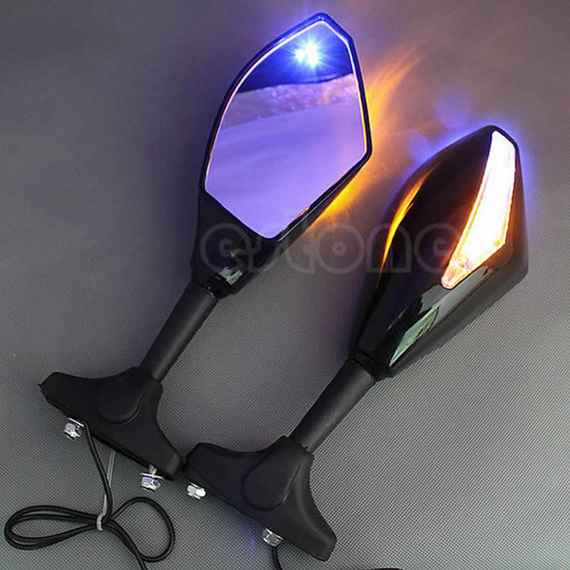 1 Pair LED Turn Signal Integrated Mirrors For Honda CBR 600 1000 RR for Suzuki GSXR1 Pair LED Turn Signal Integrated Mirrors For Honda CBR 600 1000 RR for Suzuki GSXR