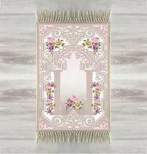 Else Purple Pink Roses Gray 3d Print Turkish Islamic Muslim Prayer Rugs Tasseled Anti Slip Modern Prayer Mat Ramadan Eid Gifts
