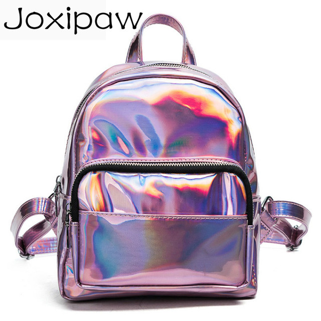 6d4b9a68e8 2018 New women hologram backpack laser daypacks girl school bag female  silver pu leather holographic bags big medium small size