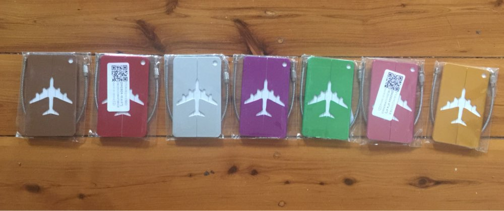 Square Luggage Tag Prints Airplane Checked Boarding Accessories Stainless Steel Ring Mini Luggage Labels 7.5*4.4cm Drop Ship photo review