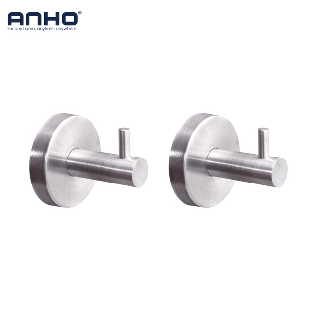 ANHO 2x 304 Stainless Steel Clothes Wall Hooks Bathroom Towel Single Coat Hanger Kitchen Holder Robe Hooks Home Accessories