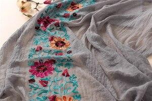 Image 2 - L12 di Alta qualità del fiore del ricamo hijab dello scialle della sciarpa delle donne dello scialle lungo musulmano dellinvolucro della fascia di 180*80cm 10 pz/lotto